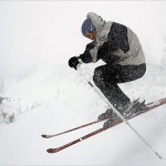 Jonathan Bell skis through heavy snow at Wolf Creek Ski Resort near Wolf Creek Pass, Colo.